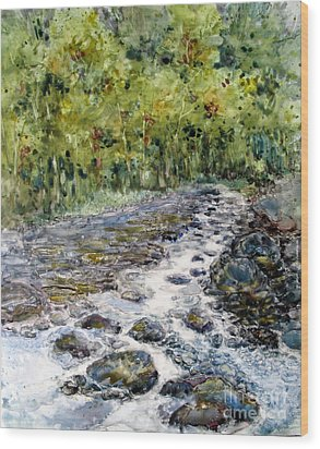 Spring Stream Wood Print by Louise Peardon