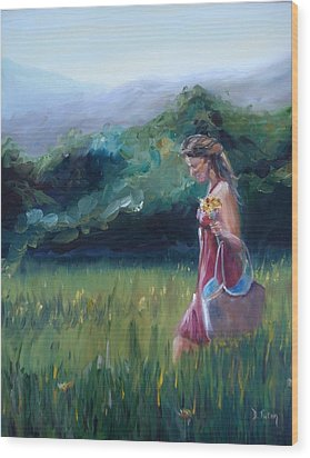 Wood Print featuring the painting Spring Stroll by Donna Tuten