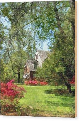 Spring - Suburban House With Azaleas Wood Print by Susan Savad
