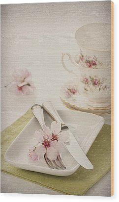 Spring Table Setting Wood Print by Amanda Elwell
