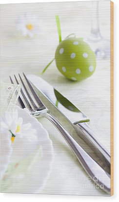 Spring Table Setting Wood Print by Mythja  Photography