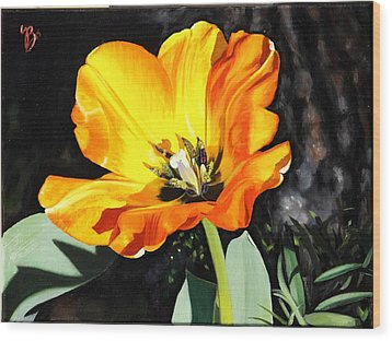 Wood Print featuring the painting Spring Tulip by Glenn Beasley