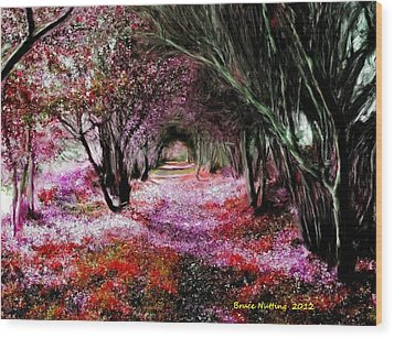 Spring Walk In The Park Wood Print by Bruce Nutting