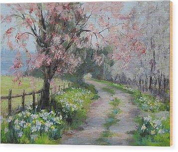 Spring Walk Wood Print by Karen Ilari