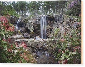 Spring Waterfall Wood Print by Robert Camp