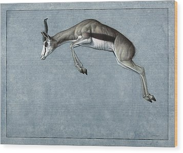 Wood Print featuring the painting Springbok by James W Johnson