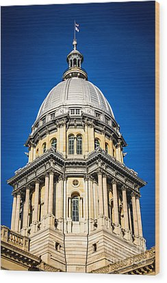 Springfield Illinois State Capitol Dome Wood Print by Paul Velgos