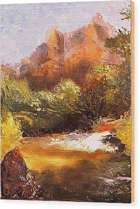 Springs In The Desert Wood Print by Gail Kirtz