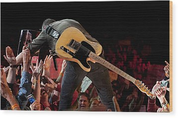 Springsteen In Charlotte Wood Print