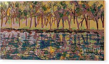 Springtime Along The Muddy River Wood Print by Rita Brown