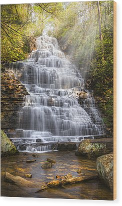 Springtime At Benton Falls Wood Print by Debra and Dave Vanderlaan