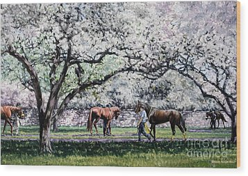 Springtime At Keeneland Wood Print by Thomas Allen Pauly