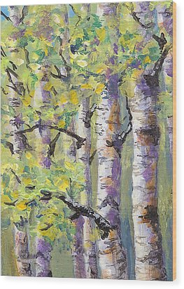 Springtime Birches Wood Print