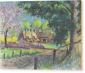Springtime Cottage Wood Print