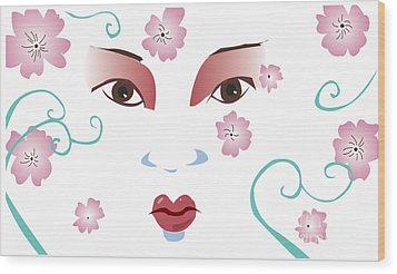 Springtime Geisha Wood Print by Whitney Morton