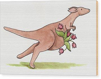 Springtime Kangaroo Wood Print by Christy Beckwith