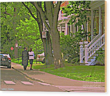 Springtime Stroll Through Beautiful Tree Lined Outremont Montreal Street Scene Art By Carole Spandau Wood Print by Carole Spandau