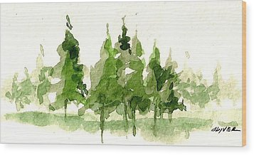 Wood Print featuring the mixed media Spruce Grove by Tim Oliver