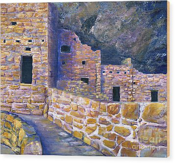 Wood Print featuring the painting Spruce House At Mesa Verde In Colorado by Lenora  De Lude