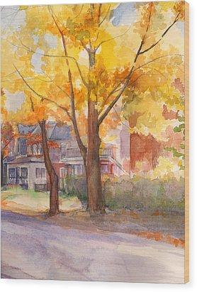 Spruce Street Maples Wood Print by Nancy Watson