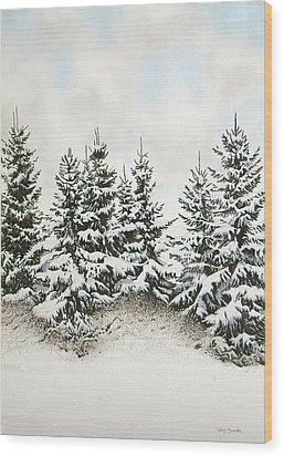 Spruce-trees In Winter Wood Print by Conrad Mieschke