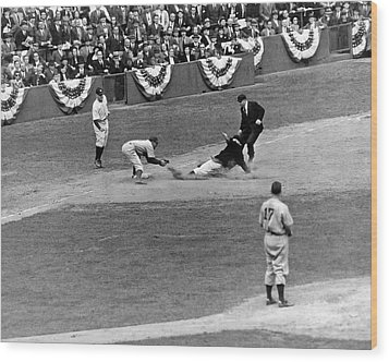 Spud Chandler Is Out At Third In The Second Game Of The 1941 Wor Wood Print by Underwood Archives