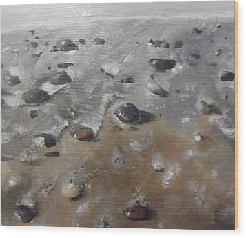 Wood Print featuring the painting Spurn Point Beach by Cherise Foster