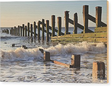 Spurn Point Sea Defence Posts Wood Print by Colin and Linda McKie