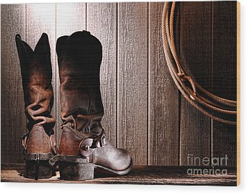 Spurs On Cowboy Boots Heels Wood Print by Olivier Le Queinec
