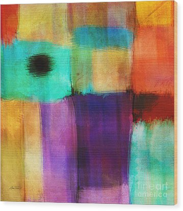 Square Abstract Study Three  Wood Print by Ann Powell