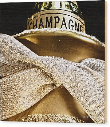 Square Gold Champagne Ornament Wood Print by Birgit Tyrrell