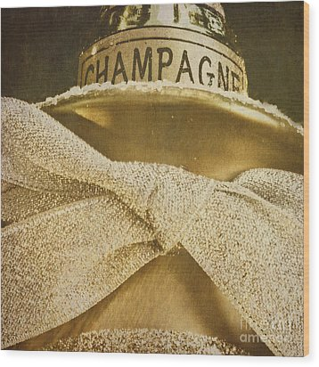 Square Gold Vintage Champagne Ornament Wood Print by Birgit Tyrrell