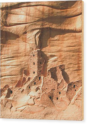 Square Tower House Mesa Verde Wood Print by Carl Bandy
