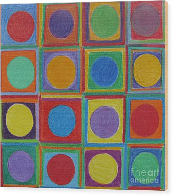 Squares And Circles Wood Print by Patricia Januszkiewicz