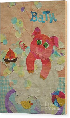 Wood Print featuring the mixed media Squeaky Clean by Diane Miller