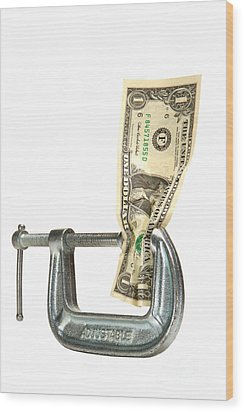 Squeezing The Dollar Wood Print by Olivier Le Queinec