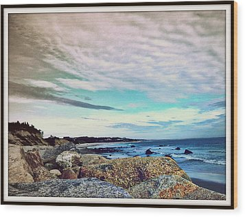 Squibby Cliffs And Mackerel Sky Wood Print by Kathy Barney