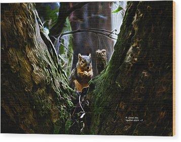 Squirrel 8309 - F Wood Print by James Ahn