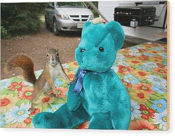 Squirrel And Bear Wood Print by Paula Brown