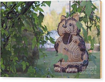 Squirrel Bird Feeder Wood Print