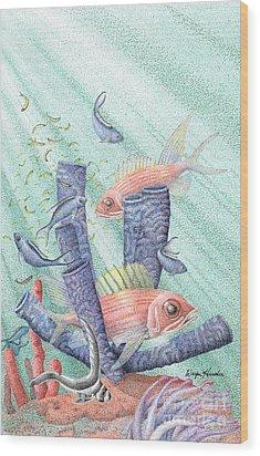 Squirrel Fish Reef Wood Print by Wayne Hardee