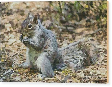 Squirrel In Central Park Wood Print by George Atsametakis