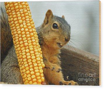 Squirrel Wood Print by Lori Tordsen