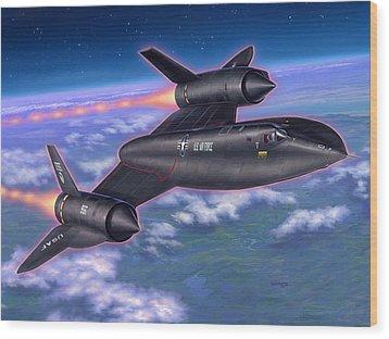 Sr-71 Blackbird Wood Print by Stu Shepherd