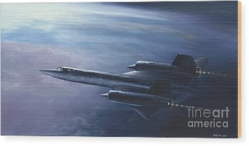 Wood Print featuring the painting Sr-71 by Stephen Roberson