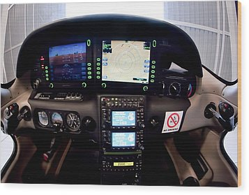 Sr22 Cockpit Wood Print by Paul Job