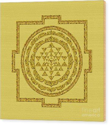 Sri Yantra In Gold Wood Print