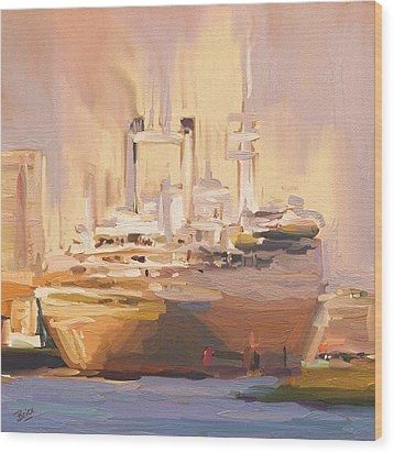 Wood Print featuring the painting Ss Rotterdam In Autumn Light by Nop Briex