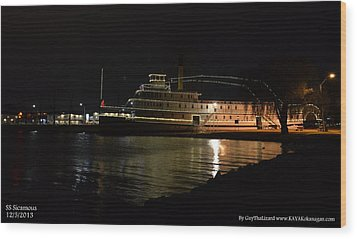 Wood Print featuring the photograph Ss Sicamous - Night Shot by Guy Hoffman