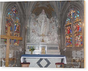 Wood Print featuring the photograph St. Aignan Church Altar by Deborah Smolinske